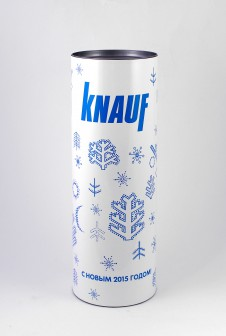 "Новогодние тубусы для ""KNAUF"". Этикетка: мелованная бумага + глянцевая ламинация."