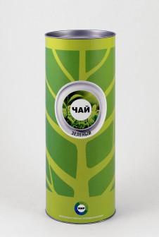 Тубус упаковка для чая. Этикетка: мелованная бумага, офсетная печать.