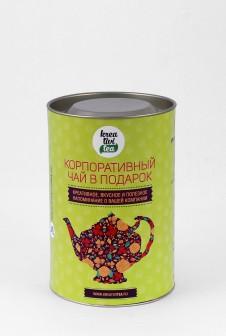 Подарочный тубус для чая. Этикетка: мелованная бумага, офсетная печать.