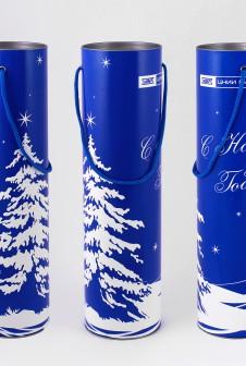 Новогодние тубусы с ручками для ЦНИИ «Буревестник». Печать шелкография.