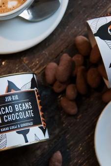 Упаковка для какао бобов в шоколаде. Этикетка: цифровая печать на мелованной бумаге.