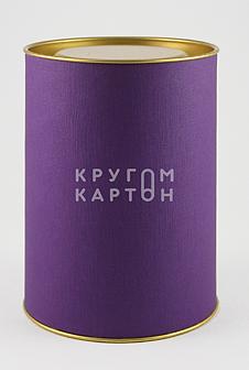 Картонный тубус с этикеткой из  дизайнерской бумаги
